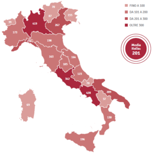 Population density for each region, Italian National Statistics Office 2016